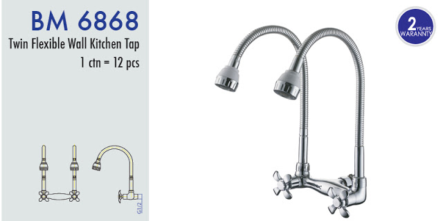 BM6868 TWIN FLEXIBLE WALL SINK TAP