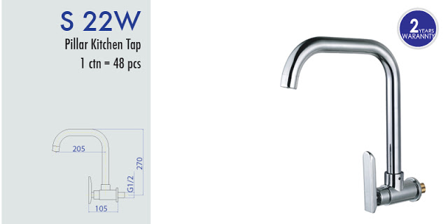 S-22W SQUARE WALL SINK TAP