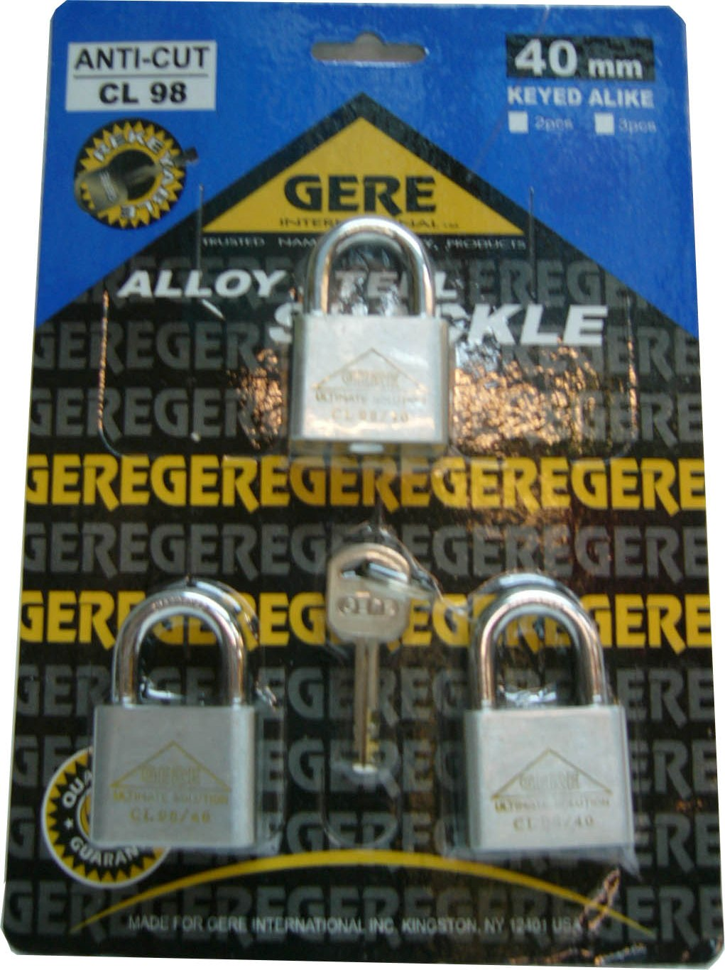 50MM*3PCS CL98 GERE ANTI CUT KEYALIKE PADLOCK